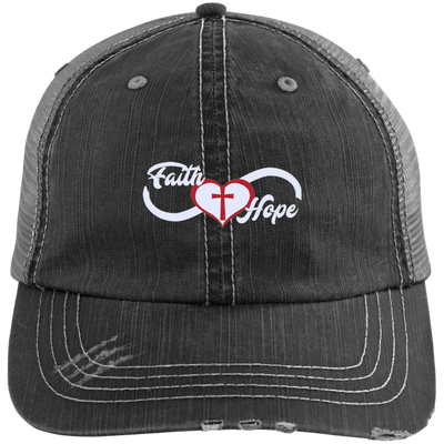 Faith Love Hope Distressed Trucker Cap - faithinlord