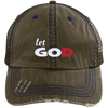Let God Distressed Trucker Cap - faithinlord