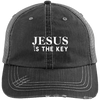 Jesus Is The Key Distressed Trucker Cap - faithinlord