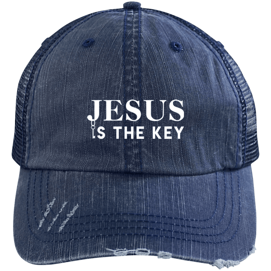 Jesus Is The Key Distressed Trucker Cap
