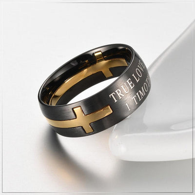 True Love Waits™ 1 Timothy 4:12 Separable Cross Ring - faithinlord