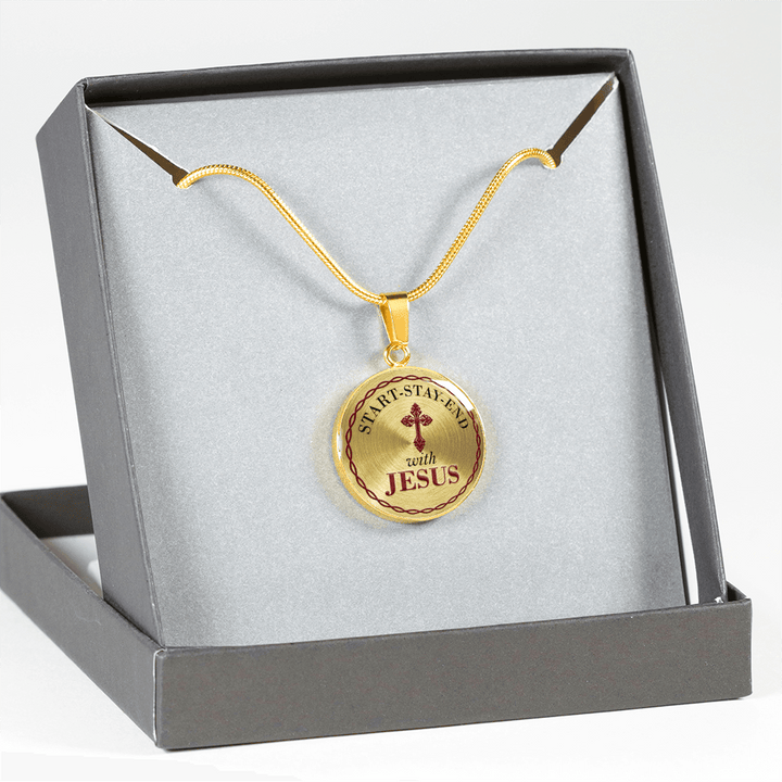 Start Stay End With Jesus 18k Golden Pendant Necklace / Bracelet - faithinlord