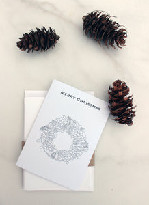 Colour in your own Winter Wreath Christmas cards - pack of 5