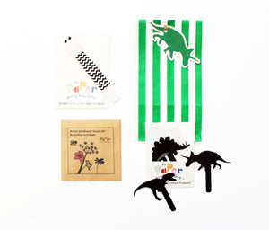 dinosaur theme, dinosaur party bag fillers, shadow puppets, dinosaur shadow puppets, plastic free party bags, eco friendly party bags