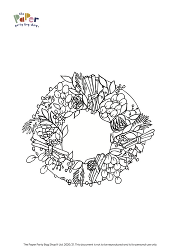 Free Download - Christmas Wreath Colouring Sheet