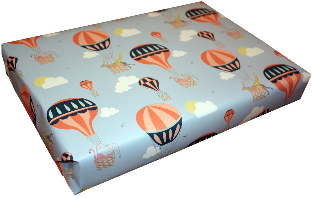 1 Sheet of 'Hot Air Balloons' Wrapping Paper and tag by Louise Thomas