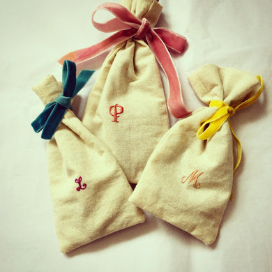 Monogrammed Organic Cotton Pouches - with pom poms!