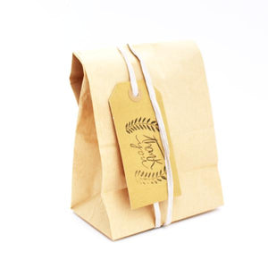 A brown bag with grey raffia ribbon and thank you tag - set of 5