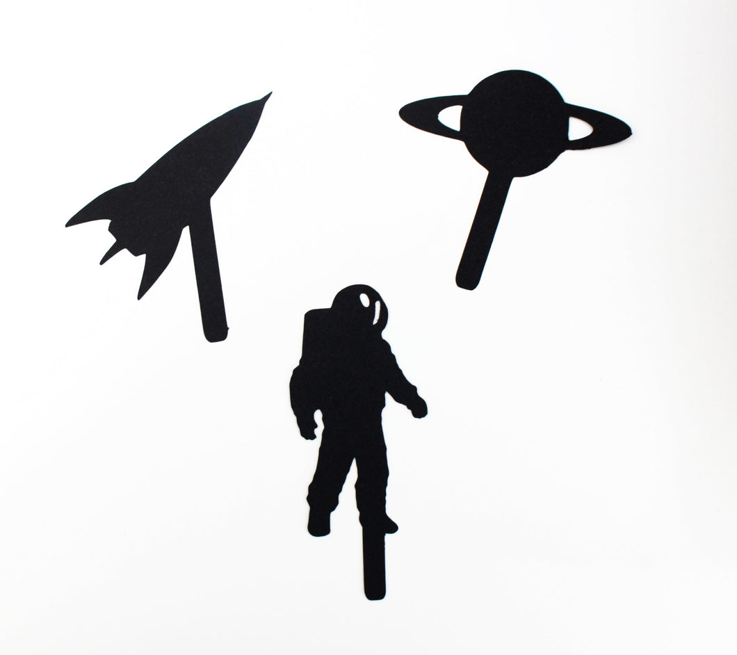 space theme, shadow puppet, space shadow puppets, eco party bag gifts, eco toys, paper toys