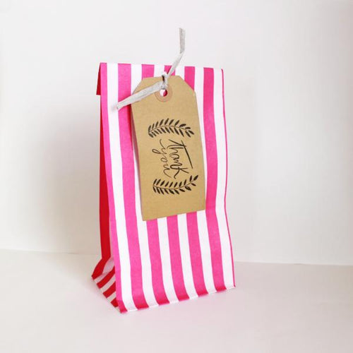 Stripy bag with thank you tag in various colours - pack of 5