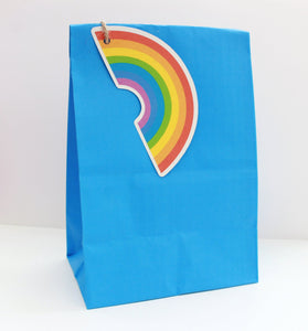 rainbow party theme, rainbow gift tag, kids party bag
