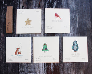 Christmas card bundle with eco glitter detail - pack of 5