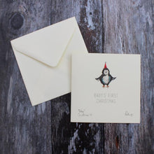 Baby's First Christmas penguin card with eco friendly bio glitter