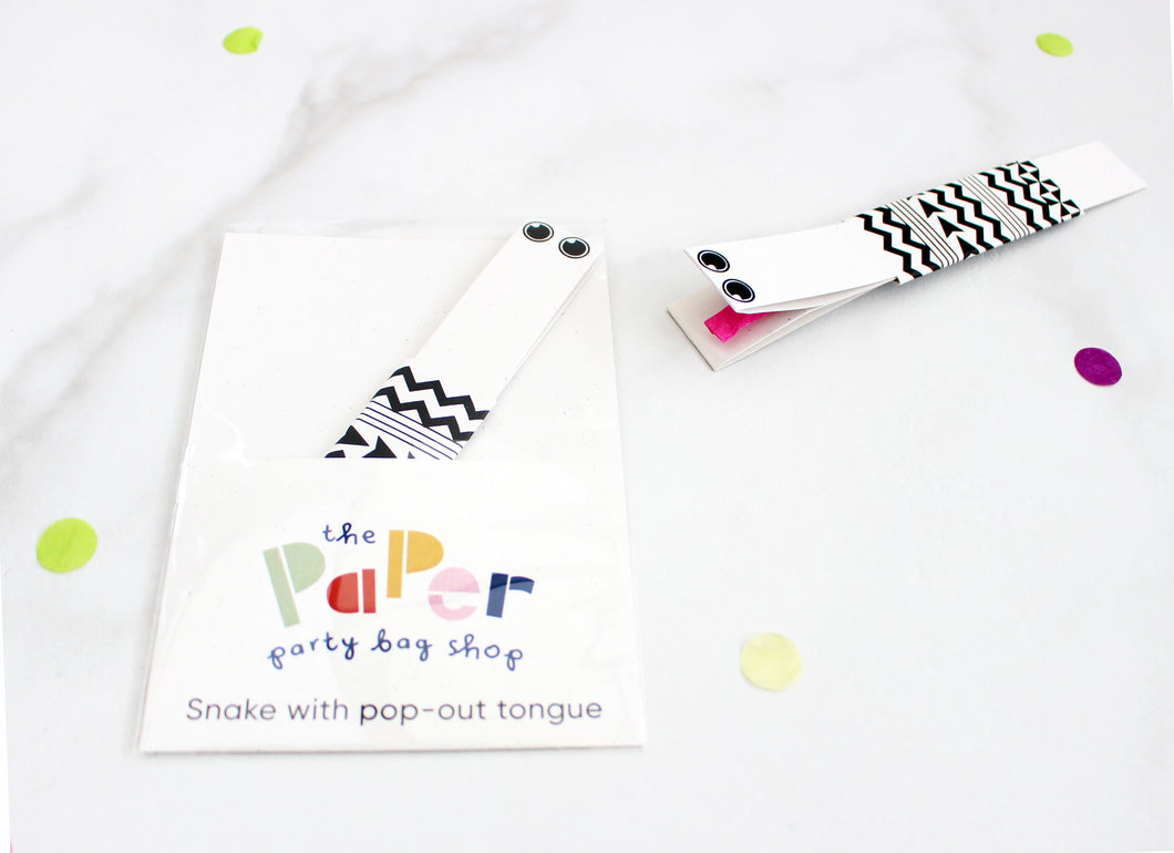 Paper snake with pop out tongue stocking filler