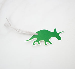 Pack of 6 Dinosaur Gift Tags on Recycled Card