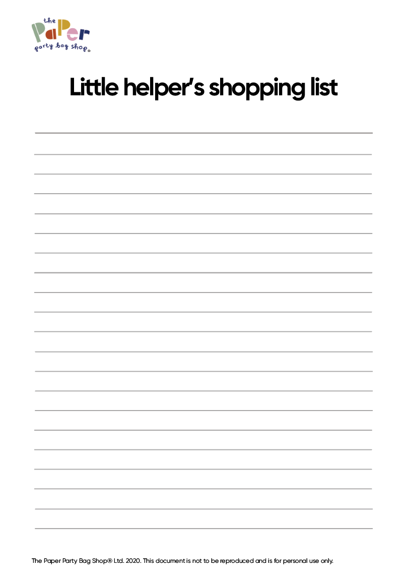 Little Helper's Shopping List (PDF)