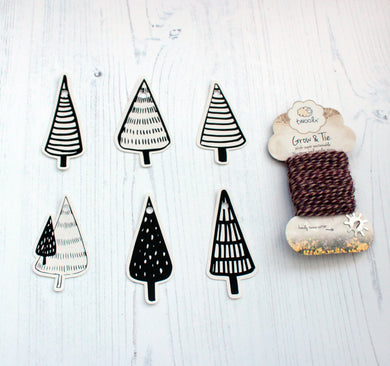 Recycled and Plastic-free Mini Christmas tree gift tags - pack of 12 with reel of Twool*