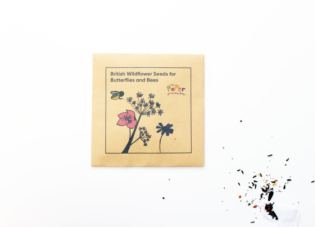 wildflower seeds, party favours, kids green fingers, kids goodie bag gifts, plastic free party bag gifts