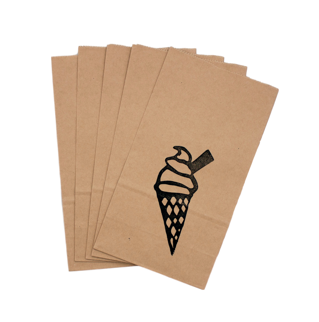 Ice-cream hand printed party bag - set of 5