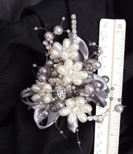 Grey pearl corsage, mother of the bride, wedding wrist corsage, elegant wedding corsage, pearl corsage, prom flowers, ivory pearl buttonhole