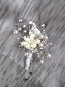 Grey pearl wedding boutonniere, father of the bride, wedding corsage, elegant wedding buttonhole, prom flowers, grey pearl buttonhole