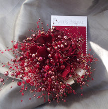 apple red pearl bridesmaid bouquet, burgundy small bridal bouquet, cherry red bridesmaid bouquet, florist made, red maid of honor bouquet