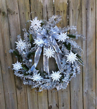 Lighted Christmas wreath, snowflake wreath, lighted holiday wreath, silk Christmas wreath, snowflake decor, beautiful door wreath