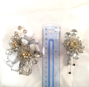 Elegant silver and gold corsage and boutonniere set, silver rhinestone corsage and boutonniere set, mother of bride set, prom flowers,