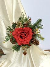 red rose winter bouquet, Christmas wedding bouquet, rose bridal bouquet, silk flower wedding bouquet, winter bridal bouquet, bridal flowers