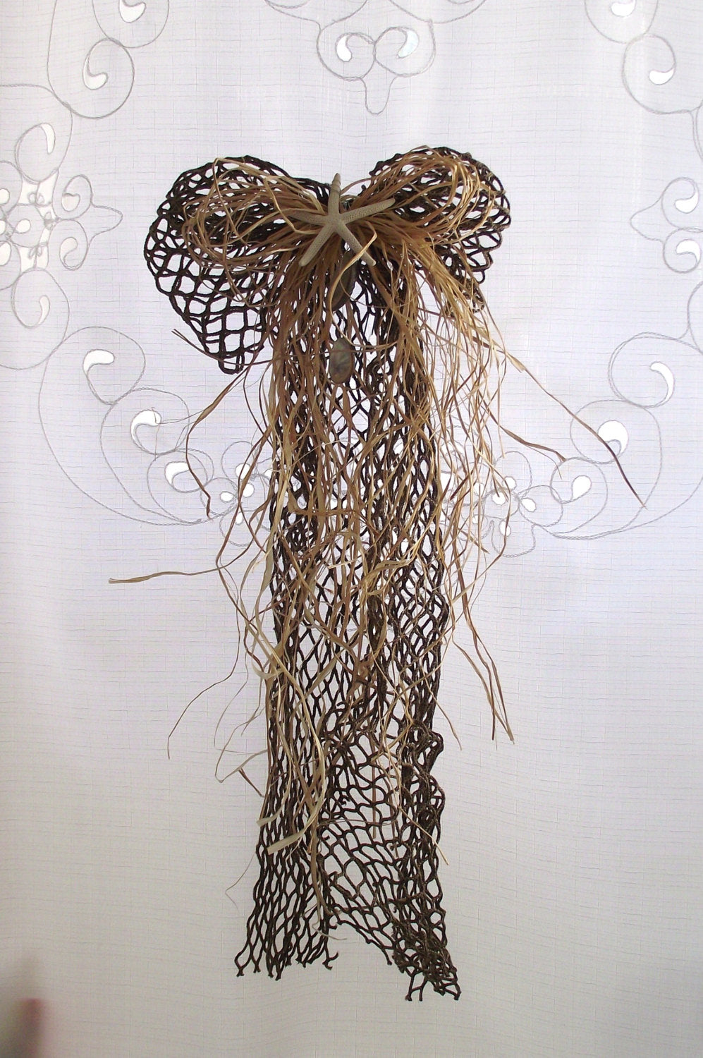 Nautical fish net bow, starfish bow, beach wedding, sea shell bow, beach bow, outdoor beach bow, shell bow, coastal bow, beach bow