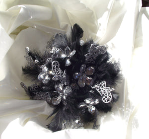 Rhinestone bouquet, alternative wedding bouquet, feather bouquet, black and silver bouquet, bride bouquet, bling bouquet, vegas wedding