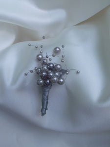 grey pearl wedding bouquet, gray bridal bouquet, bridesmaid bouquet, florist made, grey pearls, alternative bouquet, etsy wedding bouquet
