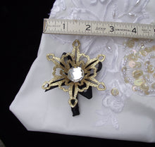 gold snowflake boutonniere, winter wedding, winter wonderland wedding, snowflake corsage, snowflake buttonhole, snowflake boutonniere
