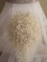 Elegant white, ivory and clear pearl cascade wedding bouquet, ivory bubble pearls, cascade bouquet, alternative bouquet, jewelry bouquet,