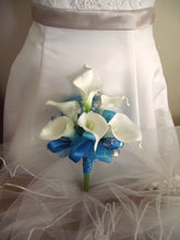 aqua bridal bouquet, pool blue wedding bouquet, calla lily bouquet, blue bridesmaid bouquet, affordable attendant bouquet, prom flowers,