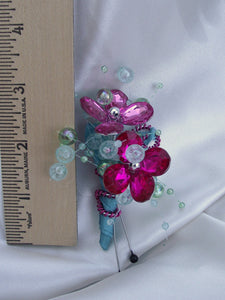 hot pink and aqua blue bridesmaid bouquet, fuchsia and turquoise maid of honor bouquet, alternative bouquet, bridesmaid brooch bouuqet