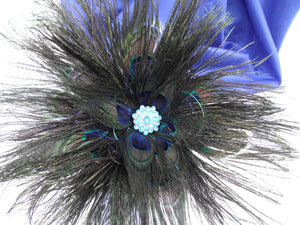 Peacock feather brides bouquet, royal blue wedding bouquet, peacock bridal bouquet, prom bouquet, sapphire blue wedding bouquet