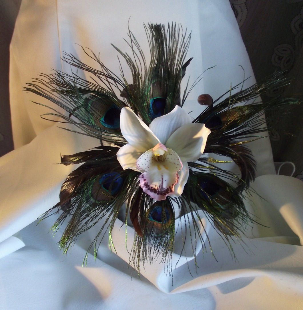 Peacock feather bridesmaid bouquet, orchid wedding bouquet, peacock maid of honor bouquet, prom bouquet, orchid wedding bouquet