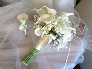 Calla lily and hydrangea wedding bouquet, ivory wedding flowers, bridal bouquet with lilies, elegant wedding, pearl bouquet, alternative