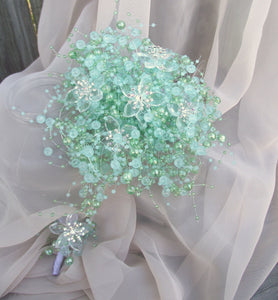 aqua blue pearl wedding bouquet, petite bridesmaid bouquet, spa blue wedding, mint green wedding, turquoise bouquet, alternative bouquet,