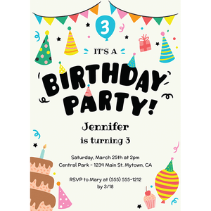 Party Hats Birthday Invitation By Say Partie