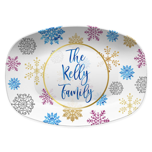 Blue & Gold Snowflakes Personalized Platter