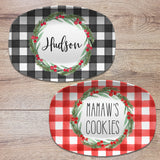 Christmas Buffalo Plaid Personalized Platter