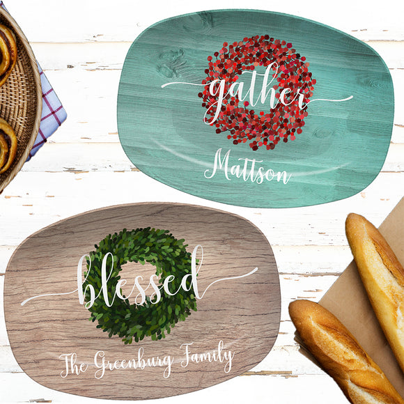 Personalized Platters | Boxwood or Red Berry | Gather - Blessed - Home - Joyful - Custom