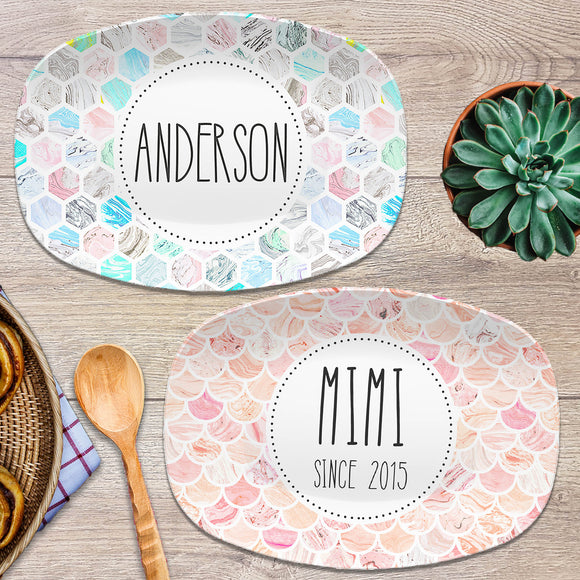 Marble Tile Personalized Platters
