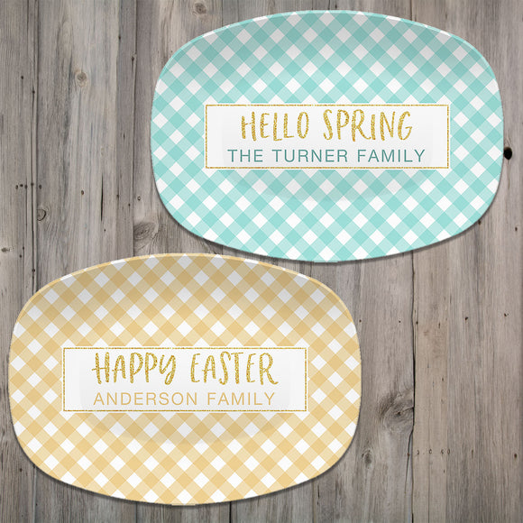 Spring Gingham Personalized Platter | Mint - Navy - Pink - Yellow