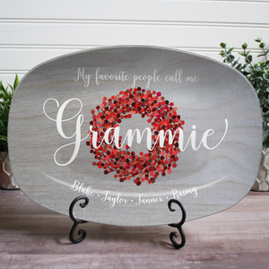 "Red Berry Gray ""My Favorite People"" Platter"