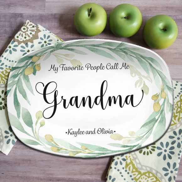 Green Wreath Design / My Greatest Blessings / My Favorite People / Personalized Platter