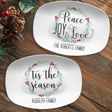 Small Holly Wreath Farmhouse Personalized Platter