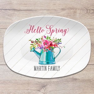 Floral Watering Can Spring Platter